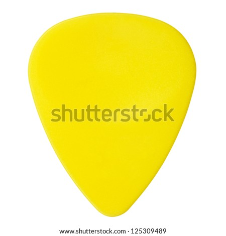 yellow plastic guitar plectrum, isolated on white