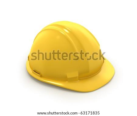 Yellow plastic helmet or hard hat