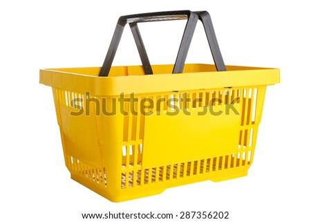Yellow plastic shopping basket isolated on white background