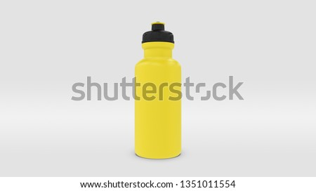 Yellow Plastic Squeeze Bottle for Souvenir and Product Mockup Isolated on Studio or Infinite Background (3D rendering)  Stockfoto ©