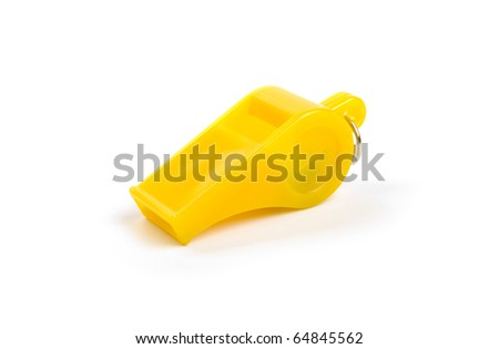 Yellow plastic whistle on a white background.