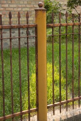 yellow pole and a rusty fence with the top in the form of forged leaves, on a background of grass and brick, Sunny day