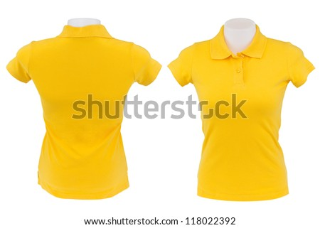 yellow polo shirt on white background