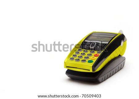 Yellow Portable Credit Card Terminal on Base