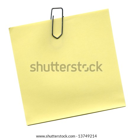 Yellow post it isolated over white
