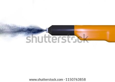 Yellow powder coat spray gun for industrial spray painting on white ground #1150763858