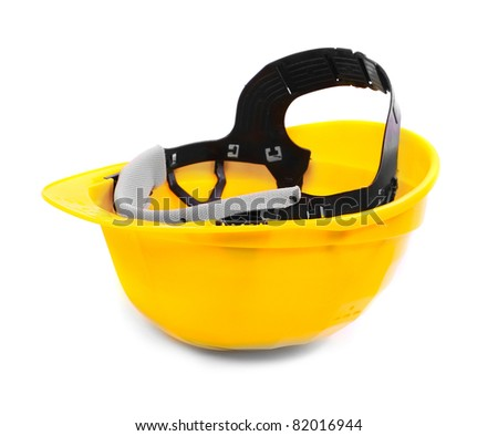 Yellow protection helmet isolated on white background