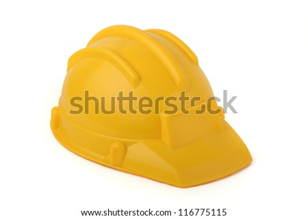 Yellow protective helmet isolated on white