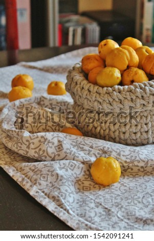 Yellow quince fruit; quince fruit in the basket #1542091241