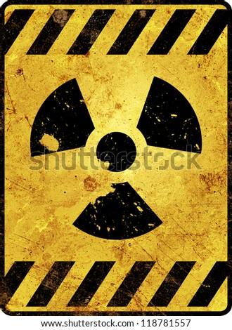 Stock Photo Yellow radioactivity warning sign