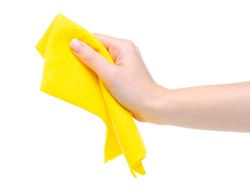 Yellow rag cleaning in hand on white background isolation