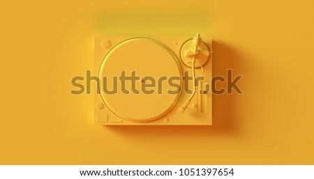 Yellow Record Player Turntable 3d illustration Stockfoto ©