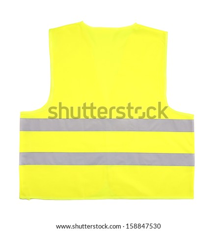 Yellow recue vest isolated on white background
