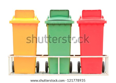 Yellow red and green garbage bin with wheels isolated on white background