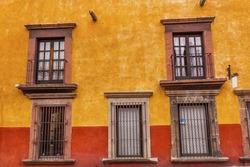 Yellow Red Wall Brown Windows Metal Gates San Miguel de Allende Mexico