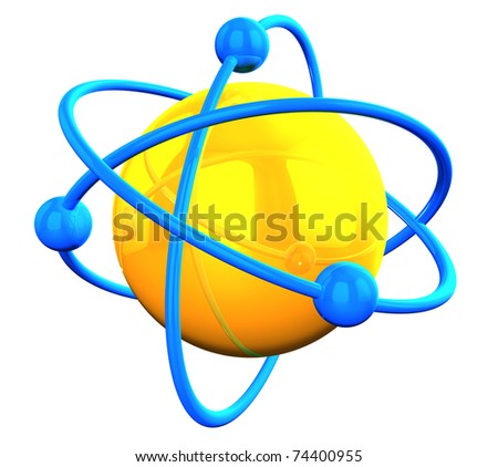 yellow reflective atom structure with blue orbitals on white