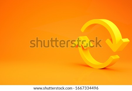 Yellow Refresh icon isolated on orange background. Reload symbol. Rotation arrows in a circle sign. Minimalism concept. 3d illustration 3D render Foto d'archivio ©