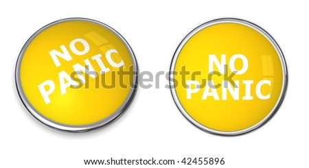 yellow rendered 3d button with white word no panic