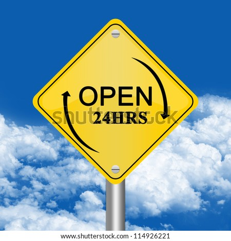 Yellow Rhombus Road Sign For Open 24 HRS Against The Blue Sky Background