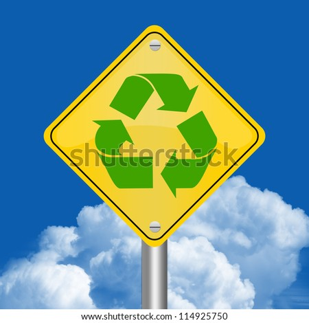 Yellow Rhombus Road Sign For Recycle Concept Against The Blue Sky Background
