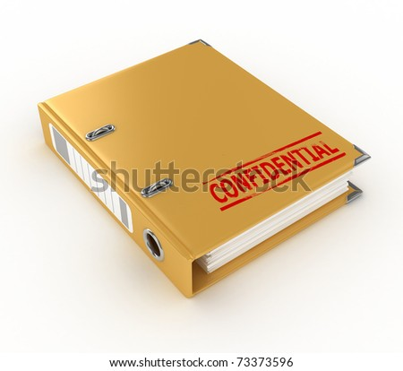 yellow ring binder with confidential stamp isolated on the white background