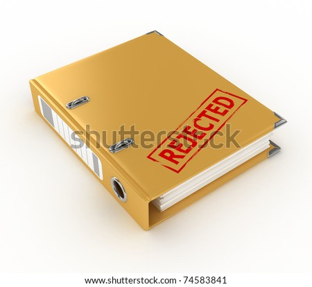 yellow ring binder with rejected stamp isolated on the white background