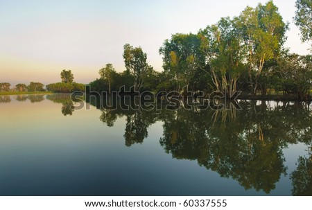 yellow river billabong in the wetland of Kakadu National Park in the Northern territories of Australia south of Darwin