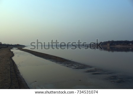 Yellow River in Jinan, Downstream of Yellow River, Shandong, China #734531074
