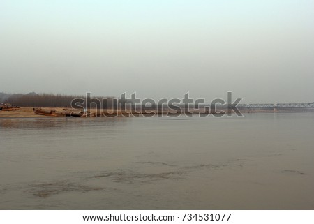 Yellow River in Jinan, Downstream of Yellow River, Shandong, China #734531077