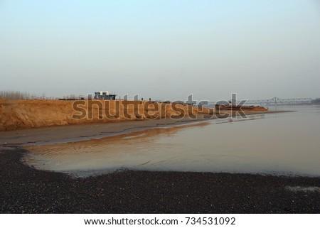 Yellow River in Jinan, Downstream of Yellow River, Shandong, China #734531092