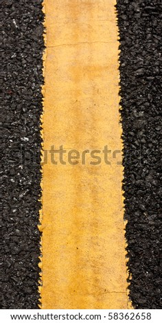 Yellow Road Line Close up