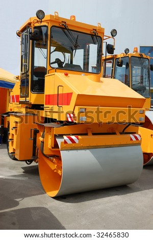 Yellow road roller