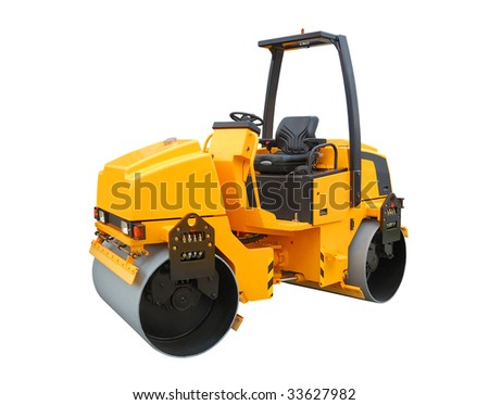 Yellow road roller isolated over a white background