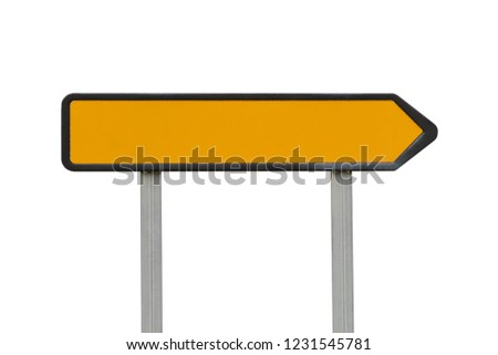 yellow road sign direction pointer isolated on white background #1231545781