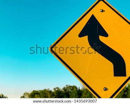 Yellow road sign during the day. #1435693007