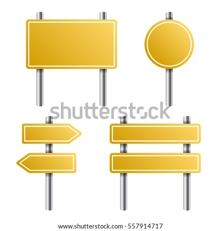 Yellow Road Sign Set on White Background. illustration #557914717