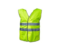 Yellow road vest isolated on white background