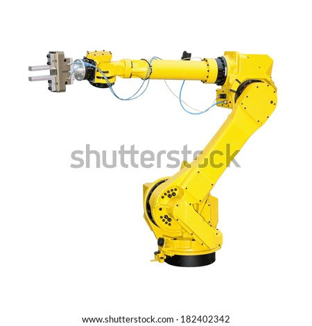 Yellow robot arm for industry isolated included clipping path Stock photo ©