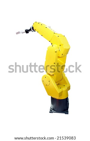 Yellow robotic arm for industry isolated with clipping path