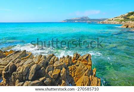 yellow rocks in Santa Reparata beach, Sardinia