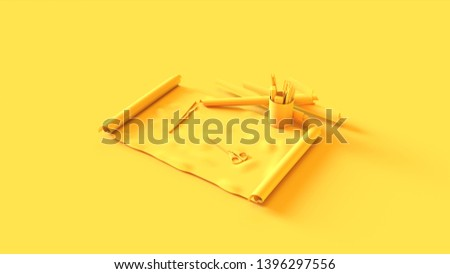 Yellow Roll of Paper with Scissors Pens 3d illustration 3d render