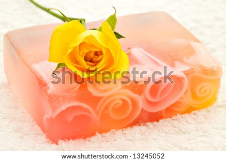 yellow rose flower on handmade soap