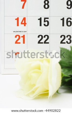 Yellow rose next to calendar page showing Valentine's day