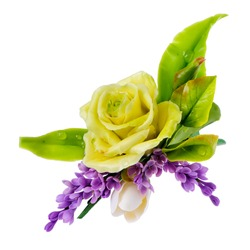 yellow rose  with leaves and lilac, isolated on white background