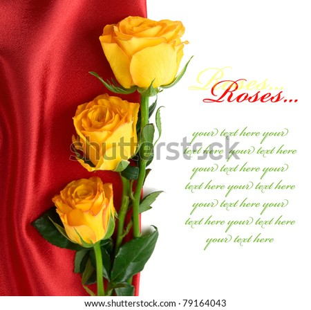 Yellow roses on the red satin with space for text