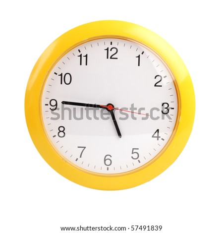 yellow, round the clock on a white background