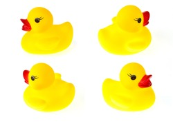 Yellow rubber duck set on White Background