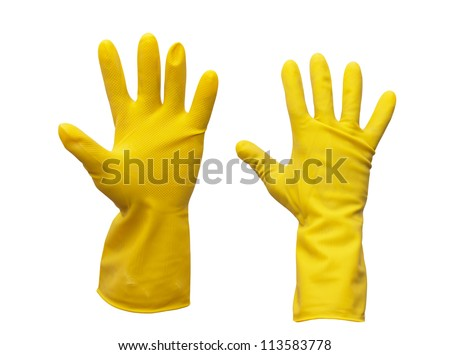 yellow rubber gloves on white background