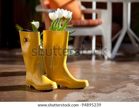 Yellow rubber rain boots with White Tulips ready to plant until the rain came