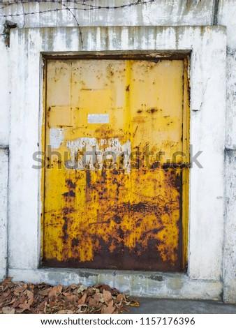 Yellow rustic door, rustic door, rustic texture  #1157176396
